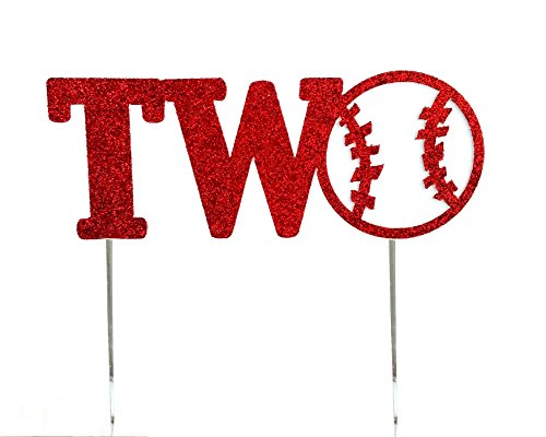 CMS Design Studio Handmade 1st First Birthday Cake Topper Decoration - Two with Baseball- Made in USA with Double Sided Red Glitter Stock ()