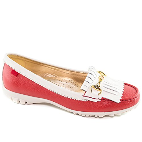Marc Joseph New York Women's Fashion Shoes Lexington Golf Red Grainy with Patent Kilt Moccassin Size 6.5