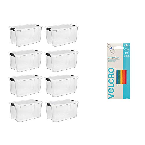 Sterilite 70 Quart Storage (8 Pack) Bundled with VELCRO Brand Wire & Cable Ties ()