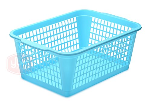 YBM HOME Plastic Perforated Storage Basket Bin Office Drawer, Shelf Desktop Countertop Tray Organizer 32-1184 (1, Blue)
