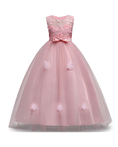 Big-Girl-Dress-Size-6-8-Years-10T-Formal-Special-Occasion-Wedding-Party-Birthday-Princess-Teen-Pageant-Elegant-Cute-Gift-Girl-Dresses-Size-1012-A-Line-Floor-Length-10-12-Y-6-7-Years-Pink-140
