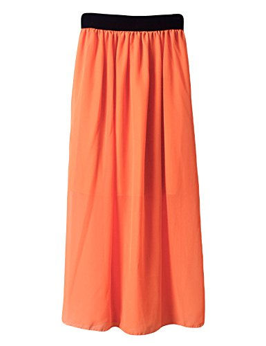 lastique plisse Jueshanzj un avec Orange Femme Robe wqTXfxBvP