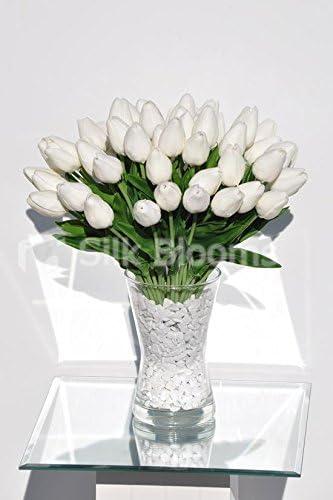 Amazon Com Silk Blooms Ltd Elegant Real Touch White Tulips In Large Vase Floral Arrangement Kitchen Dining