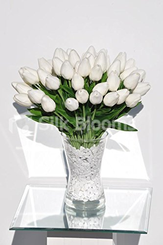 Amazon Elegant Real Touch White Tulips In Large Vase Floral