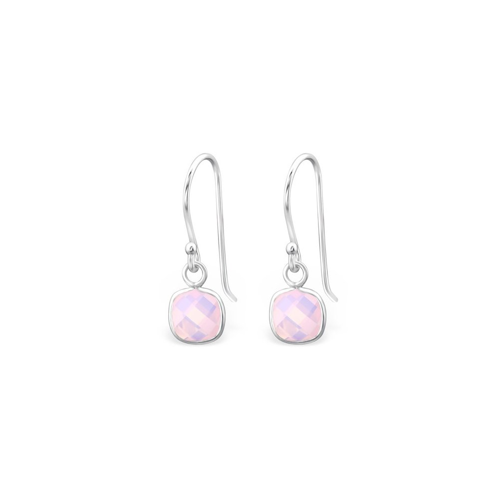 Square Opal and Semi Precious Earrings 925 Sterling Silver For Women and Girls