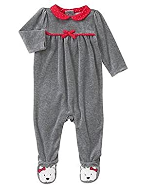 Baby Heather Grey Westie Velour 1-Piece