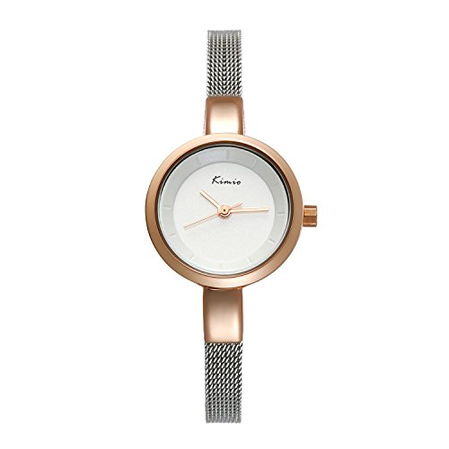 Ladies Small Face Bracelet Bangle Waterproof Watch Ultra Thin Dial Stainless Steel Mesh Woven Strap (Rose Gold) (Thin Cuff Watches)