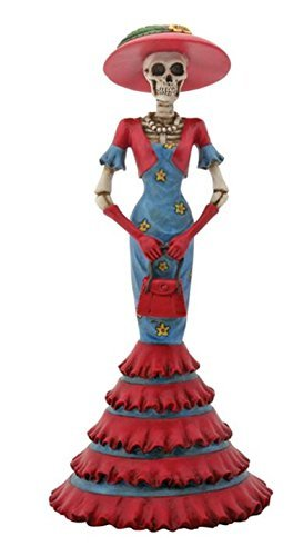 8.5 Inch Cold Cast Resin Day of the Dead Skeleton Lady Isabela - Statue Cast Resin Cold 8