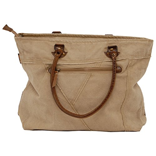 SUNSA Authentic-Vintage Damen Schultertasche Shopper, Canvas Leder stone washed - by moda Store de