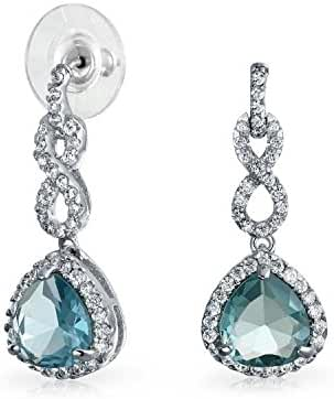 Bling Jewelry Pave CZ Infinity Loop Trillion Cut Aquamarine Color Drop Earrings