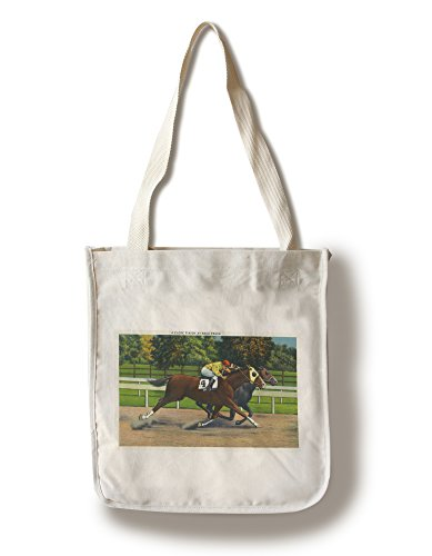 - Lantern Press Saratoga Springs, New York - A Close Finish at The Race Track, Horses (100% Cotton Tote Bag - Reusable)