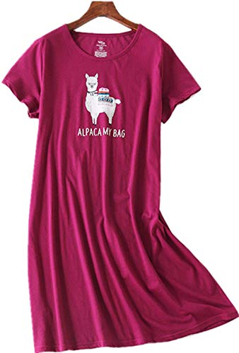 Women's Nightgown Cotton Sleep Tee Nightshirt Casual Print Sleepwear Lucky06-Pink Sheep-S