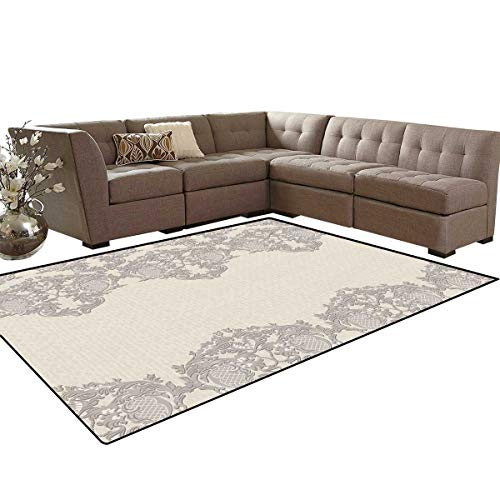 Taupe Rear Mat - Taupe Bath Mats Carpet Lace Like Framework Borders with Arabesque Details Delicate Intricate Retro Dated Print Girls Rooms Kids Rooms Nursery Decor Mats 5'x8' Taupe