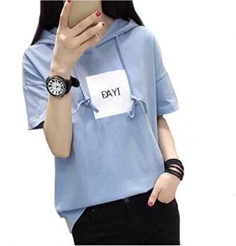 幻想的かもめコンパニオンPIITE レディース パーカー 夏 トップス tシャツ フード付き Tシャツ 半袖 韓国風 シンプル 英字 ゆったり カジュアル スウェット フードパーカー 薄手 ファッション