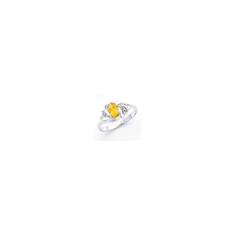 Jewelry Adviser Rings 14k White Gold 6x4mm Oval Citrine AA Diamond ring Diamond quality AA I1 clarity, G-I color