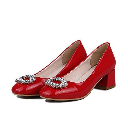 5 Slip Red Comfy Shoes US Rhinestone Heels Chunky Dress Stud M Mid On Women's Pumps Odetina Size B 16wY1