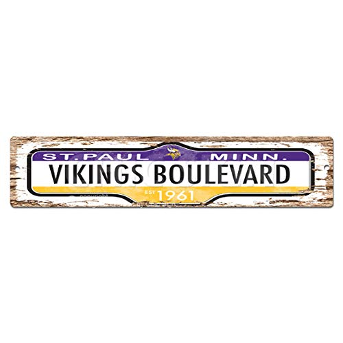 VIKINGS BOULEVARD Plate Sign Vintage Rustic Street Sign Beach Bar Pub Cafe Restaurant shop Home Room Wall Door Decor sign Digital Printed