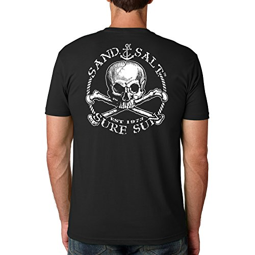 - SAND.SALT.SURF.SUN.. Skull Cotton Crew Short Sleeve Shirt XX-Large Black