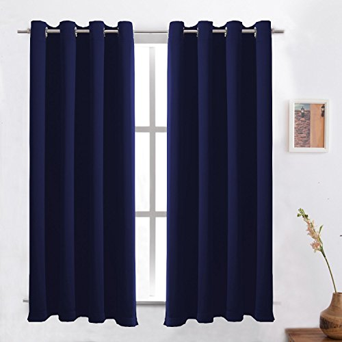 Blackout Curtains /Room Darkening/Light Blocking/Thermal Insulated Draperies With Solid Grommet for Bedroom/Living Room/Dining Room Window Treatments Royal Blue 2 Panels , 52 x 63 Inch By FLOWEROOM - Discount Curtains Window Treatments