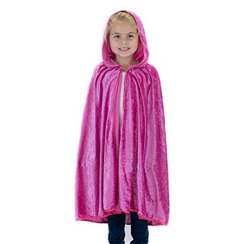 Velour Girls Pink Dress - Kids Cosplay Hooded Cloak Cape - Magenta