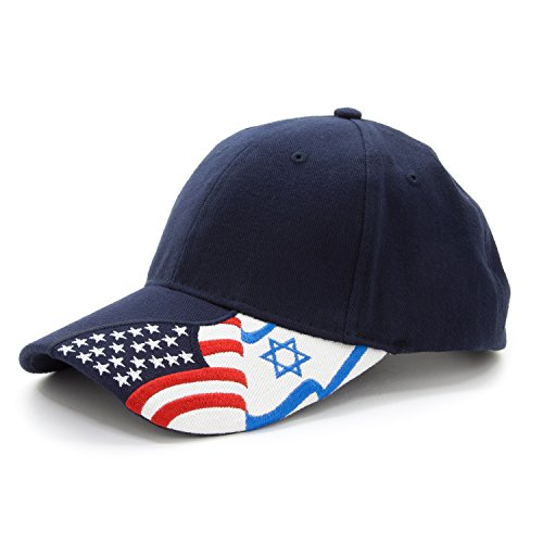 Israel Indoor Flag (Army Force Gear Embroidered USA and Israeli Flags Unisex Adjustable Baseball Cap Hat Unisex, Navy Blue)