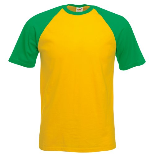 Fruit of the Loom Mens Short Sleeve Baseball T-Shirt (3XL) (Sunflower/Kelly Green) ()