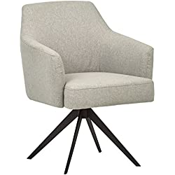 "Rivet Mid-Century Swope Curved Arm Swivel Office Chair, 26"" W, Felt Grey"