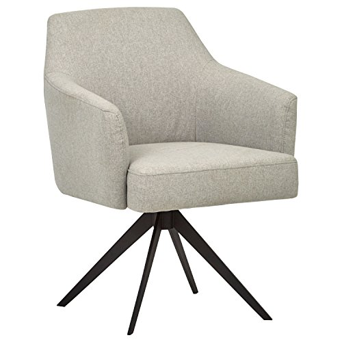 Rivet Mid-Century Swope Curved Arm Swivel Office Chair, 26″ W, Felt Grey