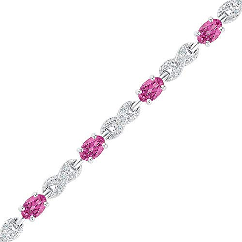 Sterling Silver Womens Oval Lab-Created Pink Sapphire Fashion Bracelet 5-1/3 Cttw