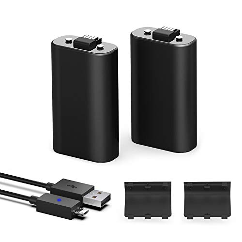 Xbox One Battery Pack, 1200mAh Ni-MH Rechargeable Battery [2-Pack] for Xbox One/Xbox One X/Xbox One S Wireless Controller with 5ft Micro USB Charging Cable, Black ()