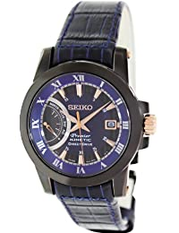 Seiko Men's Premier SRG012 Blue Leather Seiko Kinetic Watch with Blue Dial