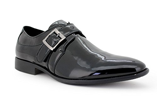 Eddie smokies smoking chaussures avec ceinture en cuir pour homme noir verni hochzeitsschuhe doublure en cuir