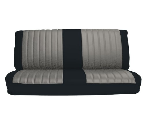 Bench Seat Upholstery (Acme U1005-898L Front Black Vinyl Bench Seat Upholstery with Silver Regal Velour Pleated)