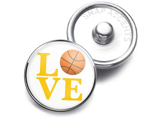 Choose a Color | Basketball Love Snap Jewelry 18MM SnapAccents Charm Button (Yellow) ()