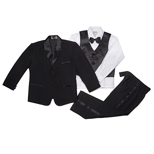 NancyAugust Modern Toddler Boy Formal Tuxedo in Blacks 2T-20-Black-4