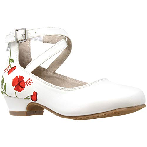 Kids Dress Shoes Embroidered Flower Mary Jane Block Heel Pumps White SZ 1 ()