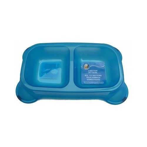 Double Pet Feeder Dog and Cat Supplies Dual Food and Water Bowl Pet Dry Food Bowl (Blue)