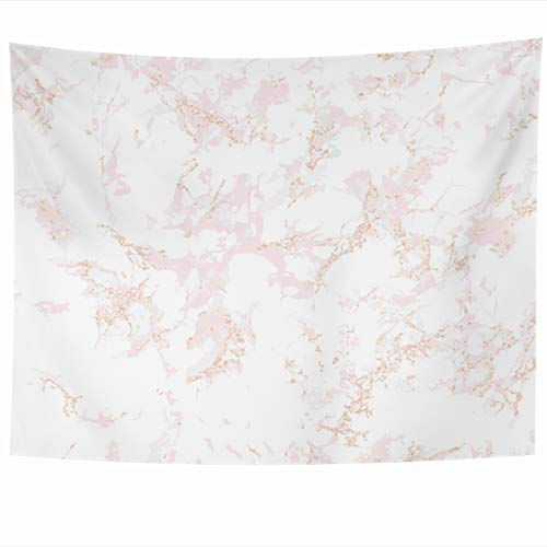 Wall Decor Patina (DIYCow Tapestry Wall Decor 80 x 60 Inches Pink Marble Rose Gold Patina Overlay Distress Grain Sequin Blush Tapestries Wall Hanging Home Decor for Home Office Bedroom)
