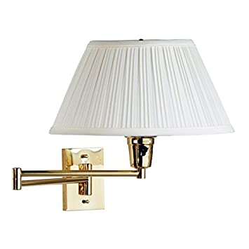 kenroy 30100pbes 1 element swing arm wall lamp polished solid brass finish with eggshell brass swing arm wall