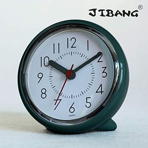 JIBANG Bathroom Wall Clock, Waterproof Suction Cup Silent Non Ticking Clocks with Stand for Desk Bedroom Home Office School (4 Inch, Green)