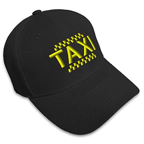 Custom Baseball Cap Taxi Embroidery Acrylic Dad Hats for Men & Women Strap Closure Black Design ()