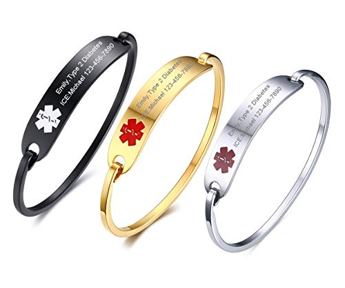 VNOX Free Engraving -3Pcs Gold Plated and Silver Medical Alert ID Bangle Bracelet for Women,7.5
