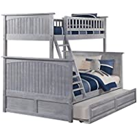 Nantucket Bunk Bed Twin over Full with Raised Panel Trundle, Twin/Full, Driftwood Grey