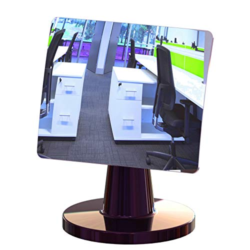 Desk and Cubicle Mirror to See Behind You, CONICAL Shaped Stand with Detachable Wide Angle Real Glass Mirror, Small & Discrete, Beautiful Design, Perfect Curvature for an exceptionally Clear - Privacy Cubicle Desk
