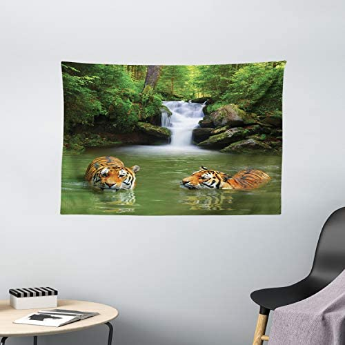 Ambesonne Safari Tapestry, Siberian Tigers in Water Waterfall Pool Woodland Swimming Natural, Wide Wall Hanging for Bedroom Living Room Dorm, 60 X 40 , Green White
