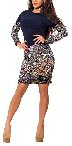 Femmes Manches Longues Élégant Col Rond Imprimé Floral Rétro Clubwear Mini Robe Moulante De Base Kaki