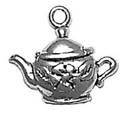Corinna-Maria 925 Sterling Silver Charm Flower Teapot (Charm Teapot Silver Sterling)