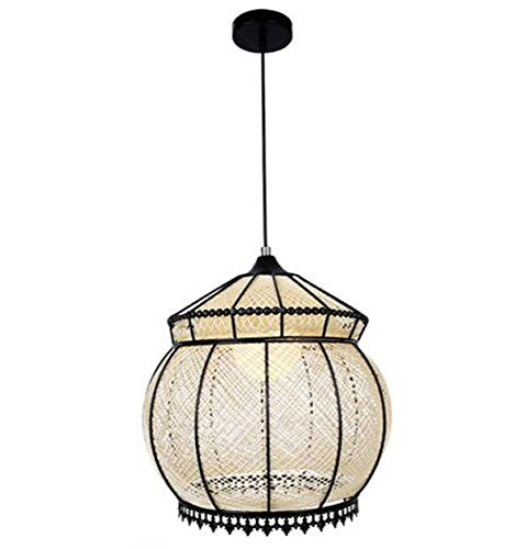 Rattan bamboo Pendant Lights Handmade Bamboo Network Light Creative Living Room Bar Restaurant Iron Horses Ball Lamp Bedroom Bird Nest Lace Hanging Light E27 110V-220V (Singapore Furniture Rattan Bamboo)