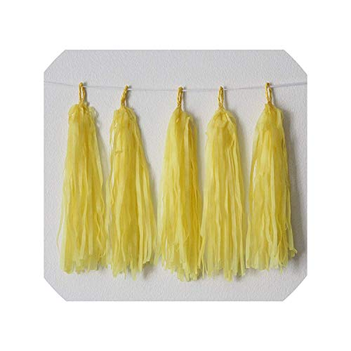 5 sheet/lot Tissue Paper foil Tassel Garland Fringe Wedding Birthday Party DIY Decor Backdrop Banner Balloons Tails,paper yellow