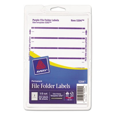 Avery Print or Write File Folder Labels for Laser and Inkjet Printers, 1/3 Cut, Purple
